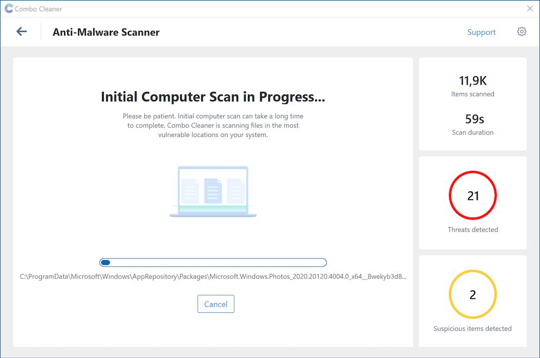 Combo Cleaner Antivirus screen