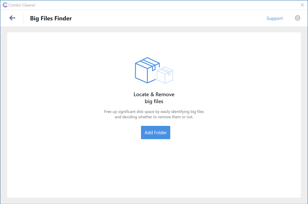 Combo Cleaner Big files finder screen