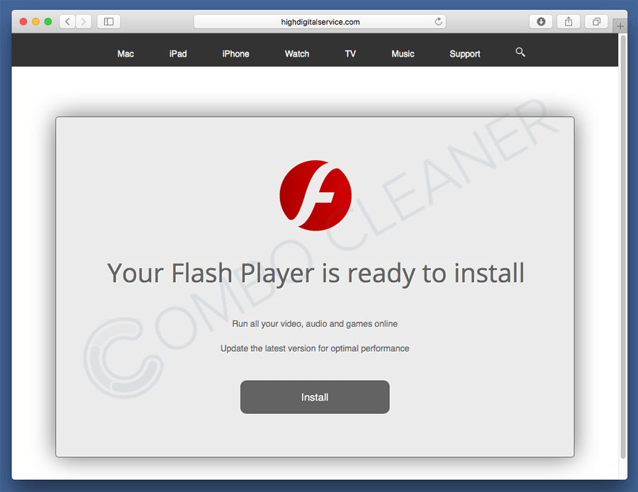fake flash player update pop-up distributing adware infections to Mac users
