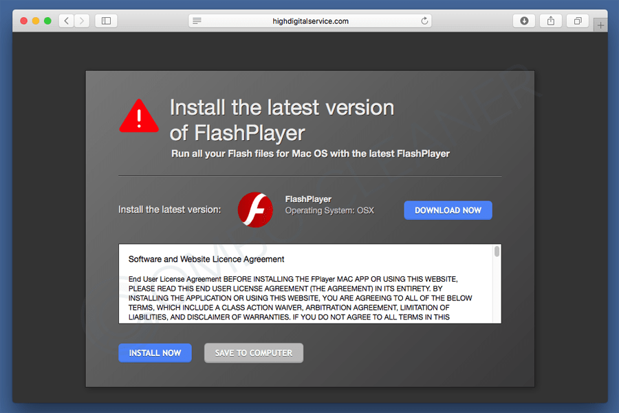 Fake flash player update pop-up for Mac